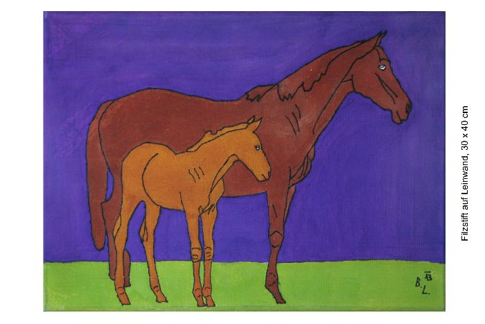 Mare and foal standing